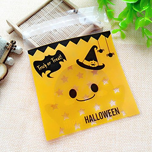 Halloween Candy Cookie Tasche, woopower 100 Biscuit Geschenk Tüte Cute Smiley, Kürbis selbstklebend Pocket, plastik, Smiley Face, 3.94
