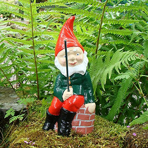 FISHING GNOME ~ HUMPTY ~ FISHING SITTING ON WALL