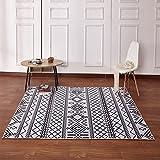 Home - Carpet ZWD Striped Teppich, geometrische schwarz weiß Nachttisch Sofa Bodenmatte Baby Krabbeldecke leicht zu reinigen | Länge 80-140 cm Haushaltswaren