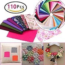 zesgood 110pcs algodón Craft Tela Patchwork cuadrados en 2tamaños (60pcs en tamaño de 10cm x 10cm; 50pcs en tamaño de 10,5cm x 10cm)