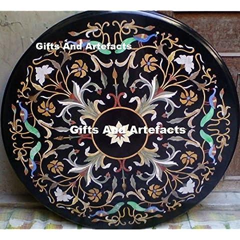 121,9x 121,9cm Nero Semi Preziosa Pietra inserto da pranzo Tavolino Divano Tavolo Home Office Decor marmo tavolo
