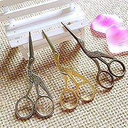 Generic Black : ASLT 2PCs Golden/Silver/Black Sewing Scissors Heron Egret Scissors Steel Vintage Tailor Scissors For Fabric Craft Household