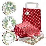 24 kleine rot weiß gepunktet Papiertüte Geschenktüte 18 x 8 x 22 cm Papiertaschen + 24 Aufkleber FROHE Ostern hell-grün Osterei natur Verpackung Ostergeschenk give-away Geschenk Kinder-tüte
