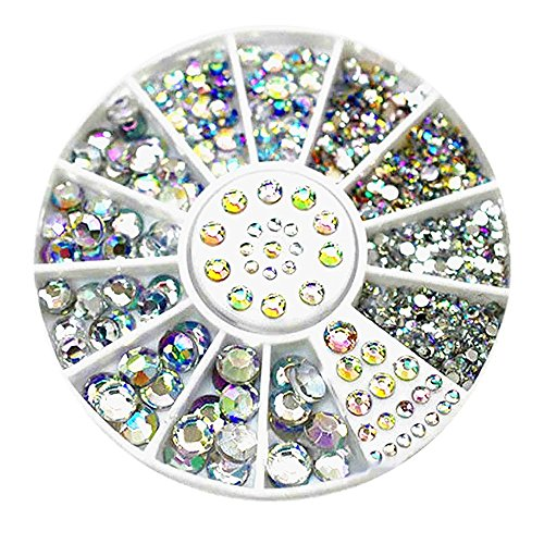 Happy-day Uñas postizas,Uñas Accesorios Decoracion,Diamantes Deslumbrantes Consejos Nail Sticker Sequins Colorful Nail Art Decoration (O, Multicolor)