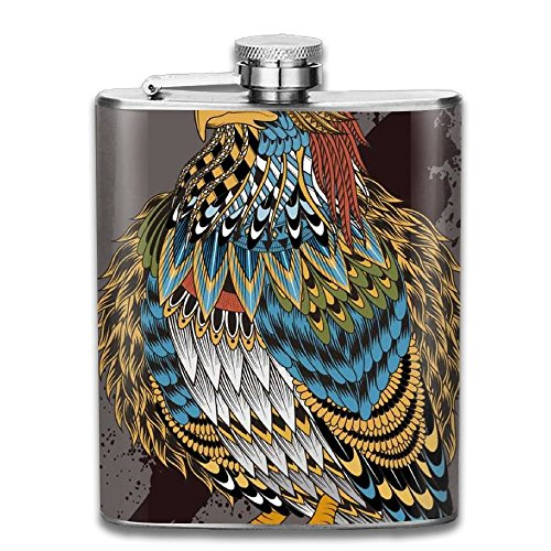 Indian Eagle Illustrations Vector Stainless Steel Liquor Flagon Retro Pocket Flask\Stainless Steel Travel Flask Great Little Gift,Safe And Nontoxic -
