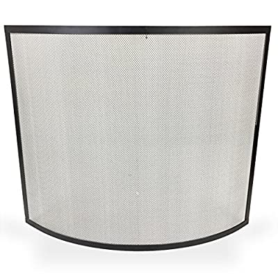Simpa Haute Freestanding Curved Fire Place Guard Fire Screen Spark Flame Guard Curved Mesh Panel Design Freestanding, Black
