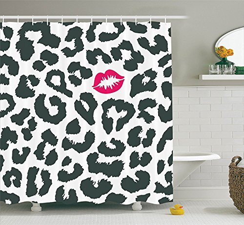 JAMES STRAIN Safari Shower Curtain, Leopard Cheetah Animal Print with Kiss Shape Lipstick Mark Dotted Trend Artwork, Fabric Bathroom Decor Set with Hooks, 75 inches Long, Black White Red