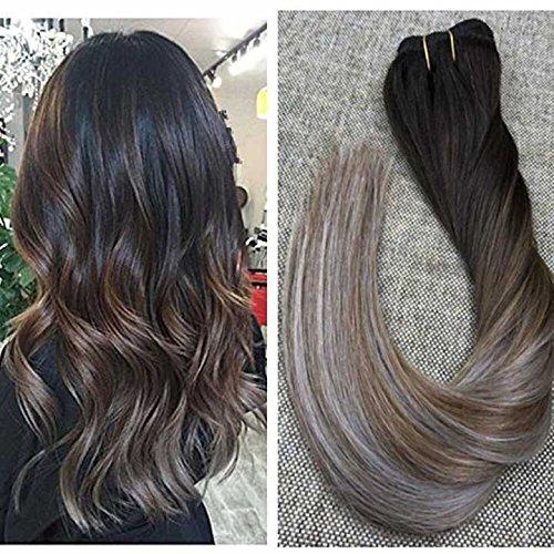 Ugeat 10pcs 50cm extension di capelli veri con clips extension grigie capelli veri #2 a #6 e #grey estensione diritti dei capelli umani 140g