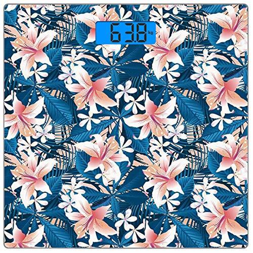 Digitale Präzisionswaage für das Körpergewicht Platz Blatt Ultra dünne ausgeglichenes Glas-Badezimmerwaage-genaue Gewichts-Maße,Singapur-Plumeria und tropischer Hibiskus-Hawaiianer-Blumen-Schmutz entw
