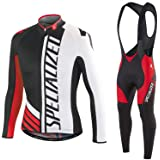 Mens Cycling Suits 2pcs Breathable Cycling Long Sleeve Jersey Cycling Bib Set for Outdoor Sports