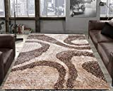 #3: TAUHID CARPET Super Soft Sahgy Collection Indoor Modern Shag Area Silky Smooth Rugs Fluffy Rugs Anti-Skid Shaggy Area Rug For Dining Room Home Bedroom Carpet 5x7 Feet Beige Brown.