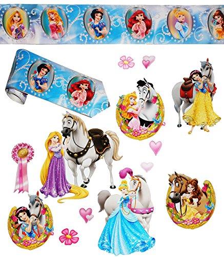 14 tlg. Set _ XL Wandtattoo / Sticker + Wandbordüre - ' Disney Princess - Prinzessin ' - Wandsticker - Aufkleber für Kinderzimmer -...