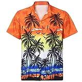 FRAUIT Herren Hawaiihemd Funky Hawaiihemd | Herren | Kurzarm | Front-Tasche | Hawaii-Print | Papagei Strand Blumen | Orange