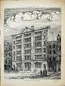 Stampa antica via 1884 del magazzino di architettura del for Costruttore di casa gratuito