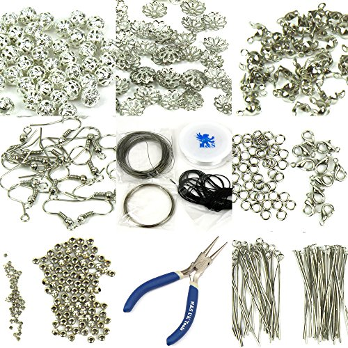 hsr-findings-set-large-jewellery-making-kit-pliers-silver-beads-wire-starter-tool