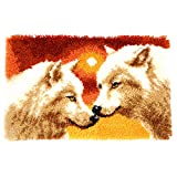 Vervaco Knüpfteppich 2 Wölfe, Stramin, Weiß, 69 x 43 x 0,3 cm