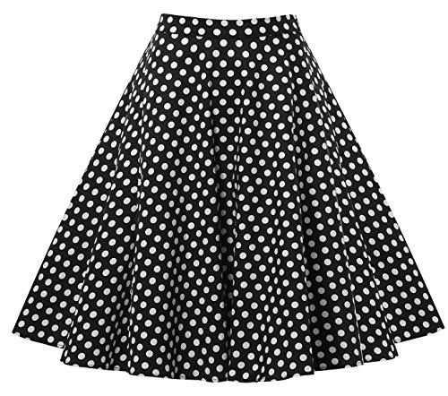 Laorchid Rockabilly Damen Röcke Rock Hohe Taille knielangen A-Linie schwarz mit weiß Polka Dots XL (Weißen Polka Mit Dots Schwarz)