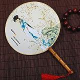 Clásico Ventilador de Palacio Redondo Ventilador de Palacio de Estilo Chino Hembra Retro Mango de bambú Hecho a Mano Circular Ventilador de Danza Hanfu Estilo Antiguo (Color : Pattern 1)
