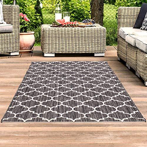 Outdoor-Teppich Flachgewebe Teppich Terrasse Balkon, Modern mit Geometrischen Muster in Grau für Außen- und Innenbereich Größe 160/230 cm