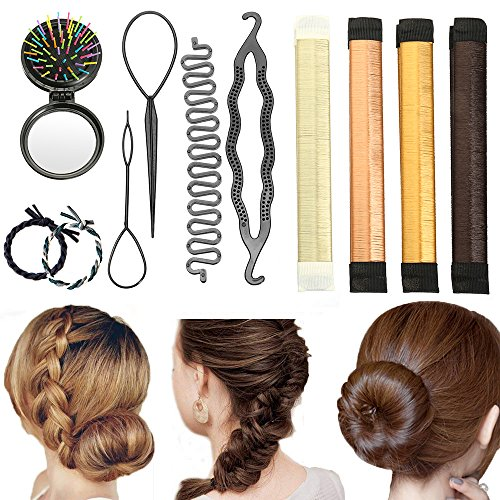 Accessori per capelli, vibury set di acconciature chignon hair styling tool, mix accessori set gioielli per hair bun maker accessori donne ragazze per diy