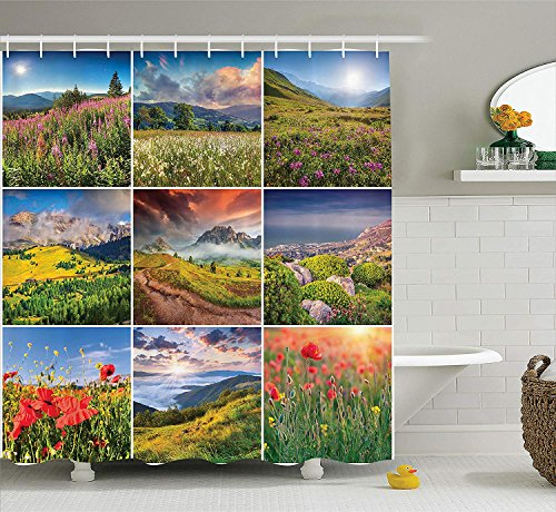 Home Decor Collection, Meadow Collage with Diverse Highland Places in The World Alps Journey Floral Road Outdoor Decor, Polyester Fabric Bathroom Shower Curtain Set, 60 x 72 Inches, Multi -