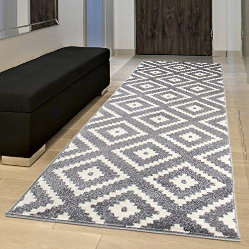 Tapiso MAROKO Läufer Teppich Brücke Flur Modern Geometrisch Marokkanisch Karo Diamant Muster Grau Creme ÖKOTEX 90 x 270 cm -