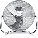 BRANDSON Retro Windmaschine 120W/Ventilator in Chrom (Retro-Design) | Standventilator 50cm | Tischventilator/Bodenventilator | stufenlos neigbarer Ventilatorkopf | aus Vollmetall (verchromt) -
