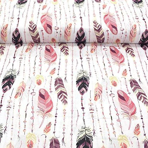 Erstklassiger Baumwollstoff 0,5lfm, 100{f93e164651d91f96a5977ec0b3a34ee8733f0e5f0366094b728ed45f2b3621ae} Baumwolle, modische Muster, Breite 160cm - Rosa Feder