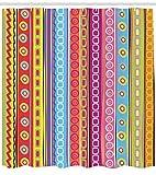 Abakuhaus Duschvorhang, Retro Streifen Farbvoll Hipster Muster Quadrat Vintage Lebhaft Farbenvoll Digital Druck Bunt, Blickdicht aus Stoff inkl. 12 Ringen Umweltfreundlich Waschbar, 175 X 200 cm
