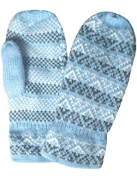 Ladies Fairisle Pattern Chunky Knit Fleece Lined Thermal Winter Mittens