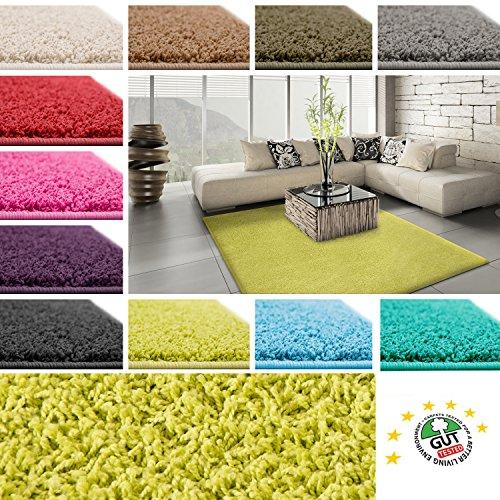 Floori Shaggy Hochflor Teppich - 100x150cm - moderner Wohnzimmerteppich - grün