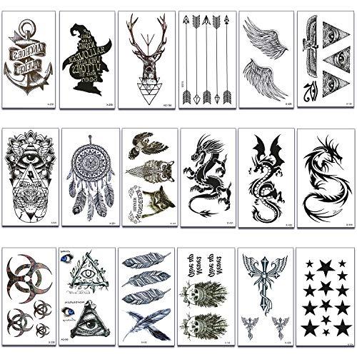 makstore 20 Blätter Tier Totem Drache temporäre Tattoos schwarz Tätowierung Aufkleber Tattoos Sticker 10,5x6cm für Damen Herren (Tattoos Temporäre Zug)