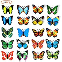 20pcs 3D PVC Butterfly Magnet Wall Decoration with Refrigerator Magnets(Color Random)