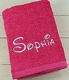 ★ Handtuch mit Namen bestickt ★ Duschtuch ★ Geschenk ★ Handtuch ★ 550 g/m2 ★ (50 x 100 cm, Pink)