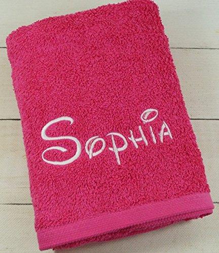★ Handtuch mit Namen bestickt ★ Duchtuch ★ Geschenk ★ Handtuch ★ 550 g/m2 ★ (30 x 50 cm, Pink)