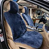 IMQOQ 2er Lammfellbezug Auto Sitzbezug 100% echt Lammfell Vordersitzbezug Universal Blaue Asche