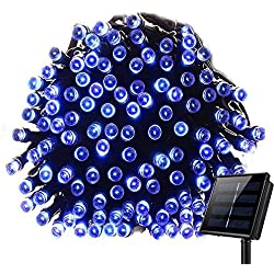 KEEDA LED Solar Lichterkette,12 Meter 100er 8Modi, Außenbeleuchtung, Dekorative Lichter/ Beleuchtung, Solarlichterketten/ Solar Beleuchtung, Lichterkette Außen, Weihnachtsbeleuchtung, Weihnachten Dekoration, Wassertropfen (Blau)