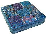 Guru-Shop Orientalisches Eckiges Patchwork Kissen 40 cm, Sitzkissen, Bodenkissen mit Baumwollfüllung, Blau, Zierkissen, Dekokissen, Sofakissen