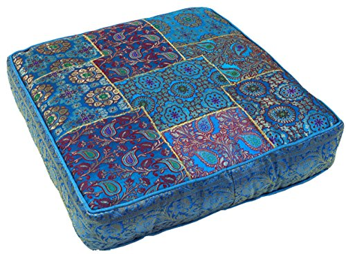 Guru-Shop Orientalisches Eckiges Patchwork Kissen 50 cm, Sitzkissen, Bodenkissen mit Baumwollfüllung, Blau, Zierkissen, Dekokissen, Sofakissen