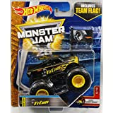 2017 Hot Wheels Monster Jam 1:64 Scale Truck With Team Flag - Black Titan