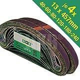 24 Stück Gewebe-Schleifbänder 13 x 457 mm Körnungen je 4x 40/60/80/120/180/240 für Black & Decker Powerfeile