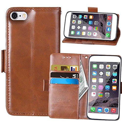 Wkae Case Cover Case Solide Couleur Retro Folio Stand Case argent Case Wallet Avec 3 Card 1 Cash Slots Side Case Motif Boucle magnétique pour Apple iPhone 6S plus ( Color : Red , Size : IPhone 6S Plus Brown