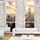 Fototapete Fenster nach New York 350x245 cm - VLIES TAPETE PREMIUM - PROFI QUALITÄT - Top moderne Wanddeko - Riesen Wandbild - Top Design Tapete - Neue exklusive Edition mit noch besser Druckauflösung - Deutsches Premium Vlies - New York Stadt City Skyline View Manhattan Himmel Fenster Steine Ziegel USA c-A-0066-a-b