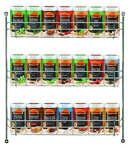 Ostmann Chrom-Gewürzregal gefüllt mit 21 Gewürzdosen Kräuter-Regal-Set Gewürz-Ständer, mit 21 feinen Gewürzen, für die Schranktür, Menge: 1 Stück (Große Getränke-halter)