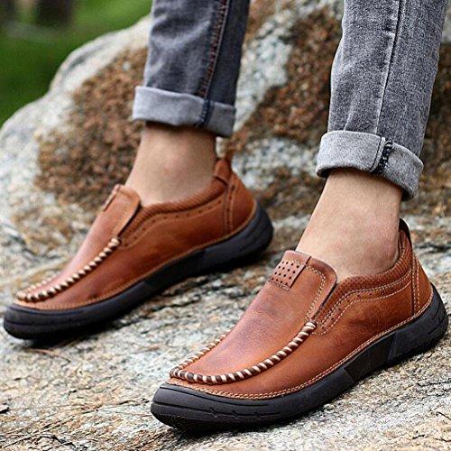 WYWQ Scarpe da trekking Scarpe da uomo Tacco piatto Scarpe casual Outdoor Set di scarpe Business Testa rotonda in vera pelle brown