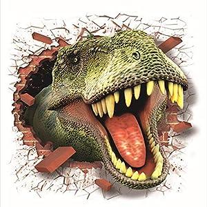 BaojunHT 3D Dinosaur Sticker Cool Mischief Decal House Room Wall Mural Kids Room Decor