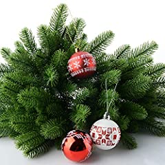 Idea Regalo - Moonvvin, rami di pino artificiali, colore verde, ideali per realizzare ghirlande fai da te e decorazioni natalizie per la casa e il giardino, confezione da 50 pezzi, PVC, Confezione da 50., 24x8cm