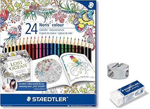 Staedtler 185 C24JB - Buntstifte Noris colour Set 24 farben, Exklusive Johanna Basford Edition im Set mit Radierer und Doppelspitzer [Limited Edition] (Malset)