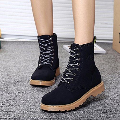 &zhou donna autunno/inverno stivali stivali di cuoio piatto caldo Martin marea avvio fashion retrò per il tempo libero Black