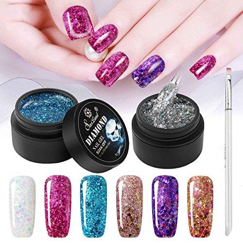 Esmalte de uñas con purpurina de 6 colores + bolígrafo de pintura, Saviland Soak Off Diamond Gel esmalte de uñas Set